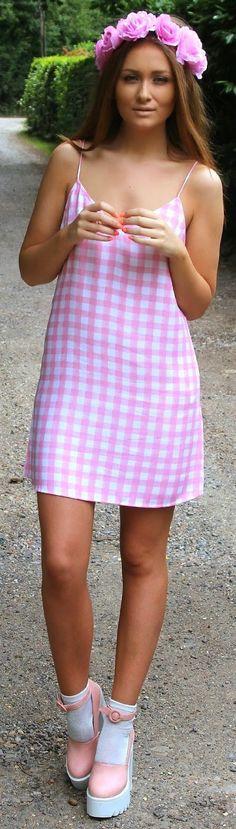 Motel Rocks Pink  White Gingham V-neck  Tank Little Dress   Keep The Glamour♡  ✤LadyLuxury✤