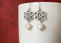 Silver Flower Earrings Clip or Pierced Pearl Drop by Studio10102