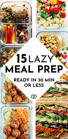 These 15 meal prep for the week are healthy and super easy to try for beginners! AMAZING recipe ideas ready in 30 minutes or less! So good to prep for breakfast, lunch, and dinners! Need to try them all!