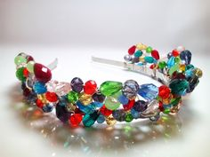 Colorful Crystal Wedding Tiara Crystal Wedding Crown Bridal Crystal Tiara Colorful Crystal Hair Accessory Crystal Headpiece by mssdelilah on Etsy Crystal Wedding, Hair Accessory, Jewelries, Wire Wrapped Jewelry, Wedding Accessories, Headpiece, Fans, Relax, Crown