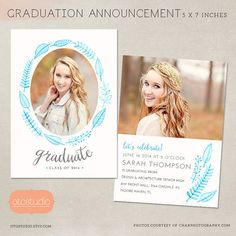 Graduation Announcement Template  Senior Card with by OtoStudio, $8.00
