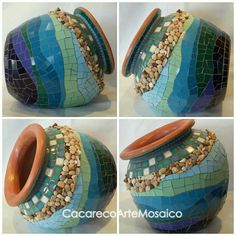 Fish scale mosaic design on a shapely flower pot. Photo by Yehudit Barak. Mosaic Planters, Mosaic Garden Art, Mosaic Tile Art, Mosaic Flower Pots, Mosaic Artwork, Mosaic Diy, Mosaic Crafts, Mosaic Glass, Mosaics