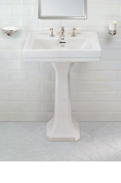 Lefroy Brooks Metropole basin and pedestal White Bathroom Tiles, Bathroom Taps, Guest Bathrooms, Family Bathroom, Downstairs Bathroom, Bad Inspiration, Bathroom Inspiration, Bathroom Ideas, Pedestal Basin