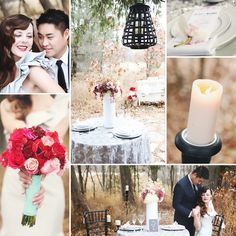 Red and pink flowers, wedding, silver, gorgeous dress, outdoor wedding, candles.  www.rosetreeevents.com