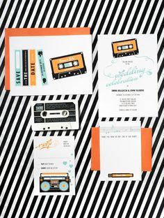 80s-inspired mixed tape wedding invitation set!