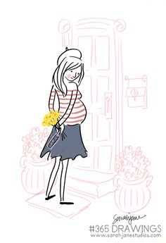 darling Sarah Jane drawing...perfect for a French-themed baby shower or nursery art