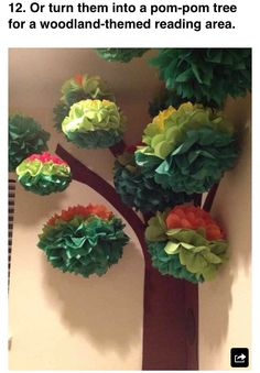 Pom pom tree. Nice back drop for a buffet or story time.