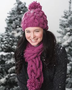 Cute chunky cables are a go-to style for the winter. Knit in Bernat Roving.