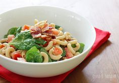 BLT Macaroni Salad - If you are on a gluten-free diet, brown rice pasta is pretty good in this recipe as well! Avoid having to add too much mayonnaise by making this right before serving, as macaroni salads with mayo tend to dry out if they sit too long therefore requiring more. 4points  #memorialday