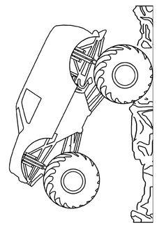 Grave Digger Crushing Cars Coloring Page | Transportation ...