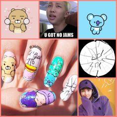 Art Nails – My hair and beauty Korean Nail Art, Korean Nails, K Pop Nails, Hair And Nails, Cute Nail Art, Cute Nails, Army Nails, Bts Makeup, Cute Nail Designs