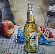 Colorful Artwork, Impressionism Art, Beer Bottle, Still Life, Mixed Media, Watercolor, Drawings, Faces, Inspire