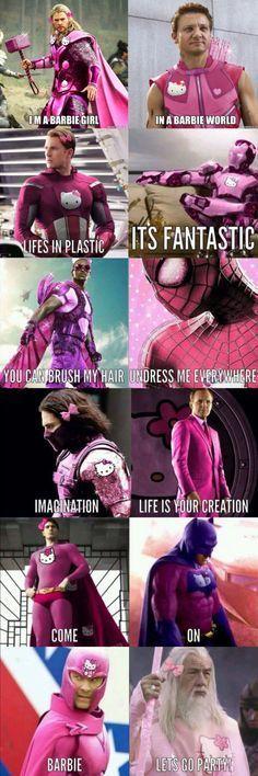 Marvel jokes - I'm a barbie girl memes humour fun barbie Avengers Humor, Marvel Jokes, Ms Marvel, Funny Marvel Memes, Avengers Quotes, Funny Comics, Really Funny Memes, Stupid Funny Memes, Funny Relatable Memes
