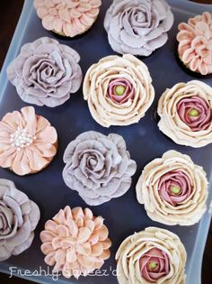 Chai Buttercream white chocolate flower piped cupcakes for bridal shower - by Freshly Squeez'd