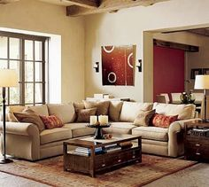Living Room, Entrancing Lounge Decor Ideas In Modern Living Room Interior Ideas 2012 With Beige L Shaped Sofa And Wooden Coffee Table On Rustic Style Rugs Also Standing Lamp: Some Tips of Lounge Decor