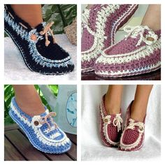 Crochet Button Loafers with Pattern w