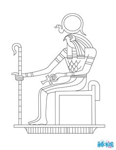 Have fun coloring this EGYPTIAN GOD RA coloring page from GODS AND GODDESSES of Ancient Egypt coloring pages.