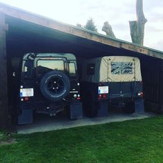 """Tight fit... Every land rover owner knows the """"height struggle"""". No underground parking with these bad boys  #landrover #landy #defender #landroverdefender #landroverninety #landroverseries #landroverdiscovery #landroverdefender90 #defender90 #defender110 #defender130 #defenderv8 #ninety #v8 #4x4 #voiture #car #classiccars #adventurecar #travelcar #landyoftheday #mylandrover #mylandy #love #softtop #summer #cruising #jeep #offroad #belgium by bert_vu Tight fit... Every land rover owner knows…"""