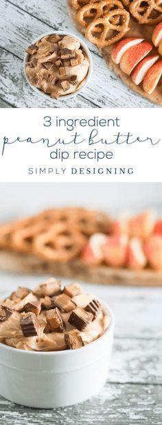 3 Ingredient Peanut Butter Dip Recipe - easy peanut butter dip recipe - dairy free peanut butter dip recipe