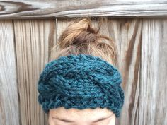 Peacock Blue Cable Knit Ear Warmer Headband by OliveBegonia on Etsy