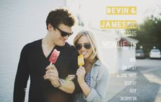 Devin & Jameson are so adorable while they cool down with popsicles! They happily made their wedding website with @weddingwoo