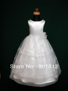 Beautiful Ball Gown Bateau Sleeveless Ankle Length Bow and Flower Organza First Communion Dress US $65.99