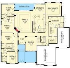 Traditional House Plan with Lower Level Media Room - 36510TX   Architectural Designs - House Plans - main floor