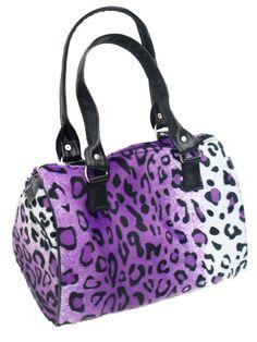 USA Handmade Fashion ANIMAL PRINT LEOPARD PATTERN Doctor Bag Satchel Style Handmade Purse, PURPLE COLOR, DRB 3069