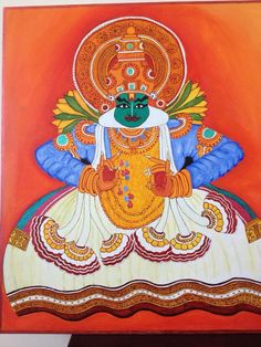 Kathakali krishna painted on canvas with acryllics & 3d outliners