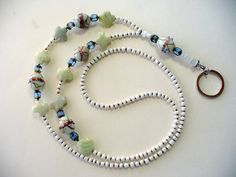 White and Blue Glass Lanyard Necklace White by DLAbeaddesign