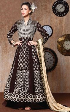 Picture of Alluring Brown Anarkali Salwar Kameez
