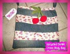 Upcycled Denim Cherry Bag