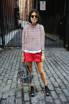 Best Outfit Ideas For Fall And Winter gridwork, Leandra Medine style, red mini skirt, pop of red outfit, window pane small print top,