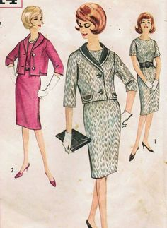 Vintage 1962 Simplicity 4614 Sewing Pattern Misses' Half Size Slenderette One-Piece Dress and Jacket Size 16-1/2 Bust 37. $10.00, via Etsy.