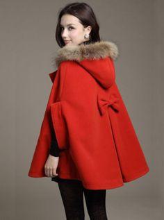 Coat,Red coat, hooded coat, Womens Coats, Wool Coat,long Coat ...