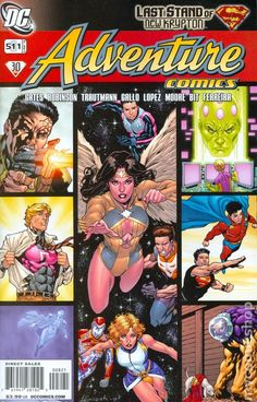 homage cover; multi-panel Adventure Comics cover with Legion