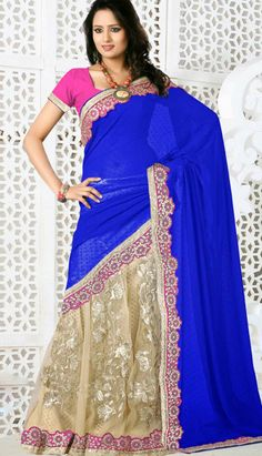 Fashionable Indian Blue Georgette Net Casual Saree