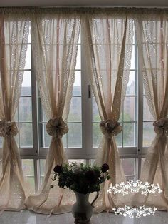 A Pair of Shabby Chic Blossom Vine Drawnwork Rod Pocket/Pinch Pleated Creamy Decorative Pull-up Sheer Panels, French Country Style R008-G