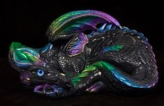 Mother Dragon - Black Violet Peacock. Airbrushed and hand painted fantasy figurine $126.00 #fantasyart #dragon #collectables