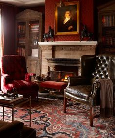 Classically beautiful-  fireplace, leather, gorgeous rug, portraiture, moody lighting