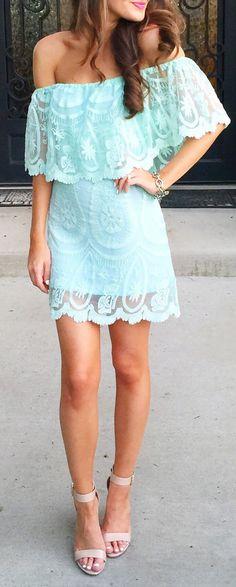 Mint off shoulder dress // buy here