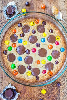 Reese's Peanut Butter Cup and M&M cookie pie. It's epically good! Plus, a bunch more ways to get Reese's into your desserts.