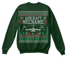 Aircraft Mechanic Ugly Christmas Sweater Deep Forest  Sweatshirt Front