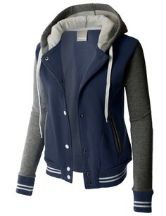 LE3NO PREMIUM Womens Contrast Sleeve Fleece Varsity Baseball Hoodie Jacket
