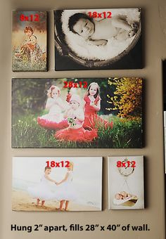 wall collage of canvas prints 28x40, closest to 30x40, inch border left and right