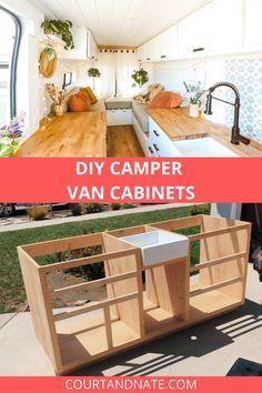 Van Conversion Interior, Camper Van Conversion Diy, Van Interior, Van Conversion Cabinets, Build A Camper Van, Diy Camper, Camper Life, Camping Diy, Converted Vans