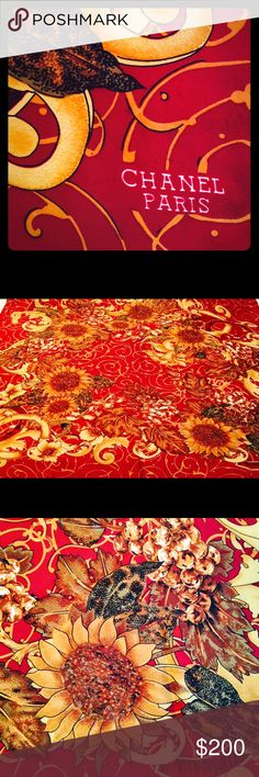"""Chanel Silk Sunflower Scarf Beautiful Chanel 100% Silk Sunflower Scarf from Paris. Deep burgundy background highlights gold sunflowers and elegant design. 100% silk. Exceptional condition. Squared shape dimensions 34"""" x 34"""". CHANEL Accessories Scarves & Wraps"""
