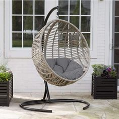 Boho-chic-style Resin Wicker Kambree Rib Hanging Egg Chair with Cushion and Stand in Driftwood Finish - Excellent price and perfect condition.This Island Bay th Wicker Swing, Egg Swing Chair, Patio Swing, Papasan Chair, Hammock Chair, Swing Chairs, Porch Swings, Room Swing, Garden Hammock