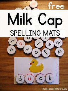 Short vowel activity -- spell and read short u words with milk caps! Free printable spelling mats
