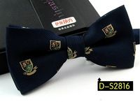 boys accessories fashion bow tie Polyester silk tie men prom dress Wedding print Bowtie Neckwear butterflies dark blue 12*6cm